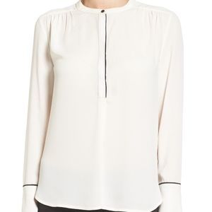 Halogen Piping Detail Long Sleeve Blouse Top New